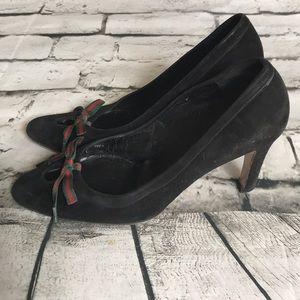 Gucci Shoes - Gucci Suede Grosgrain Ribbon Bow Pumps Heels Shoes